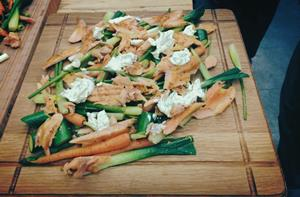 Smoked Trout with Flat Bread and Spring Vegetables