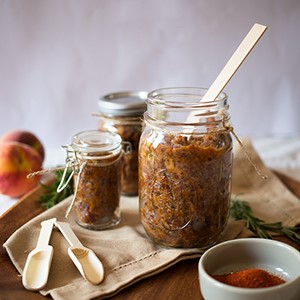 Boozy Rosemary and Peach Bacon Jam