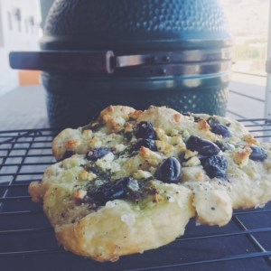 Focaccia with Olives, Feta and Basil Pesto