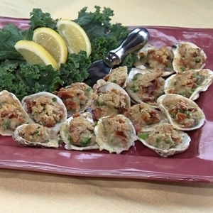 Big Green Egg Baked Oysters