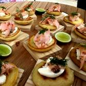 Smoked Norwegian Salmon on savoury crumpets with crème fraiche and fresh dill