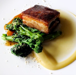 Pork Belly with Apple Puree, Carrots and Broccoli