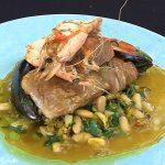 Reuben Riffel's Smoked salmon, hake, mussels and white bean stew
