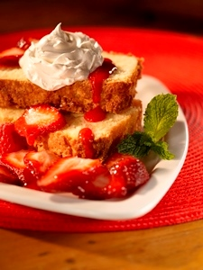 Pound Cake with Strawberries and Berry Coulis