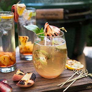 Roasted Peach and Basil Whiskey Smash